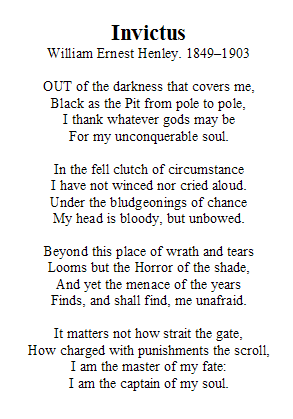 how does the poem invictus relate to the movie The title of the movie invictus comes from the latin meaning unconquered we are led to believe that mandela had a poem written on a scrap of paper in his prison cell while he was incarcerated in the movie, mandela gives the poem to the team captain pienaar, before the start of the world cup.