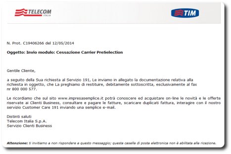 Cessazione Carrier PreSelection